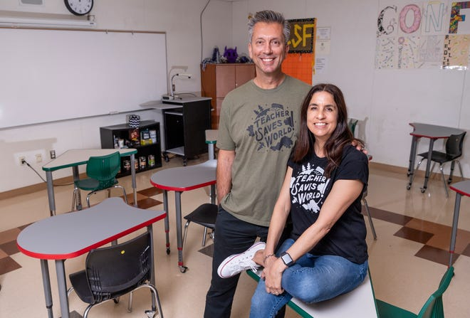 """Mission Oak High School teachers Matt and Laurie Jones started a podcast called """"Teacher Saves World"""" which focuses on the difficulty of both parenting and teaching teens during the COVID-19 shutdown."""