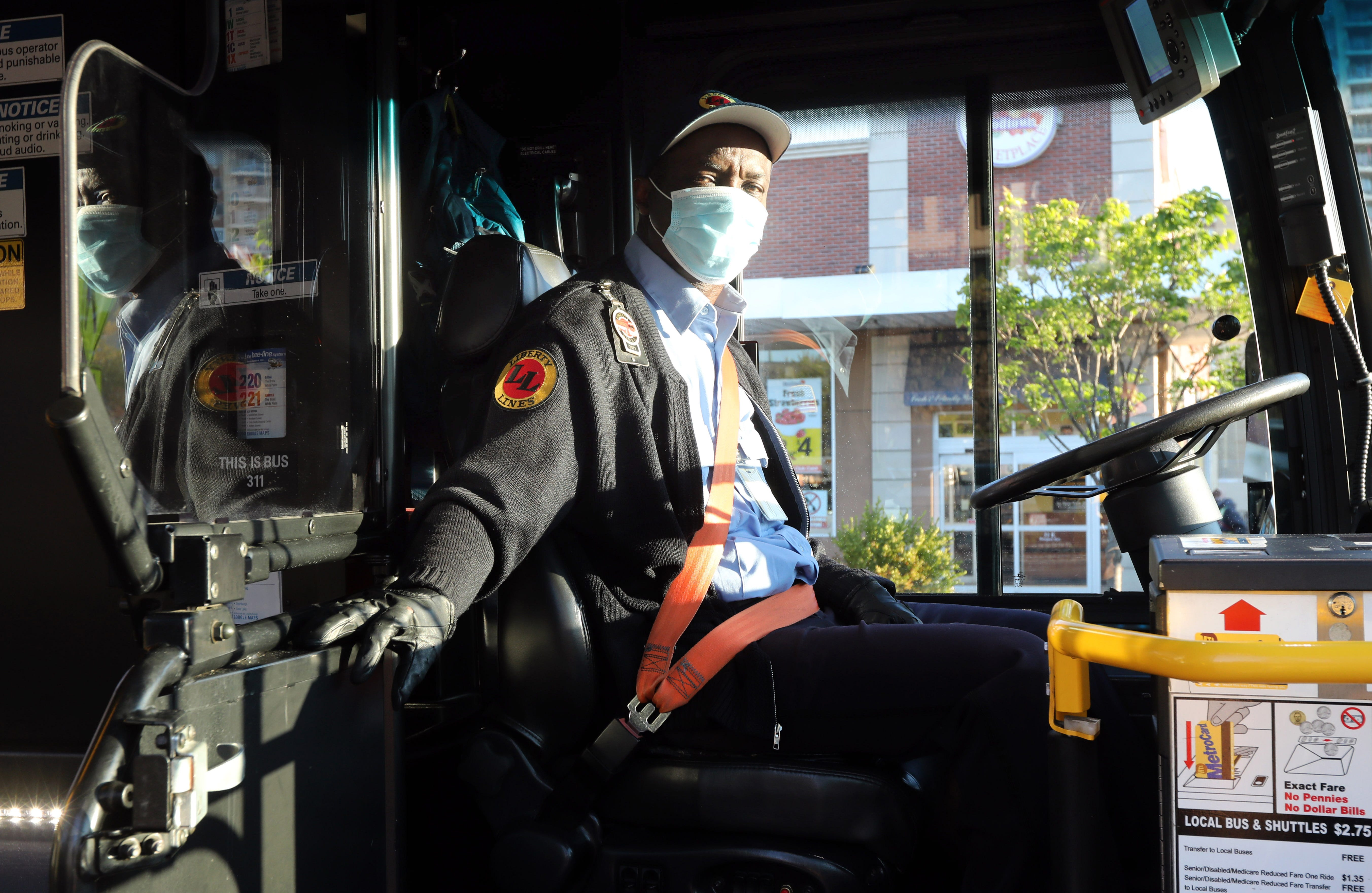 Essential workers like Bee-Line #40 bus driver, Leroy Clarke, seen here arriving at his first stop in Mount Vernon in May, continued ferrying healthcare workers and hospital employees to their jobs every day to help fight the virus when public transportation had all but shut down.