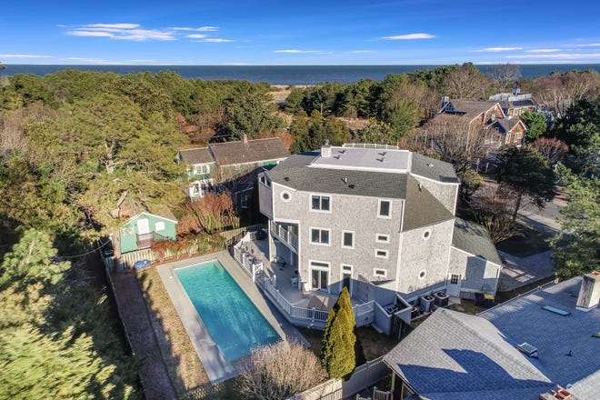 This home on Henlopen Avenue in Rehoboth features ocean views and a 54-foot by 20-foot swimming pool, one block from the beach.