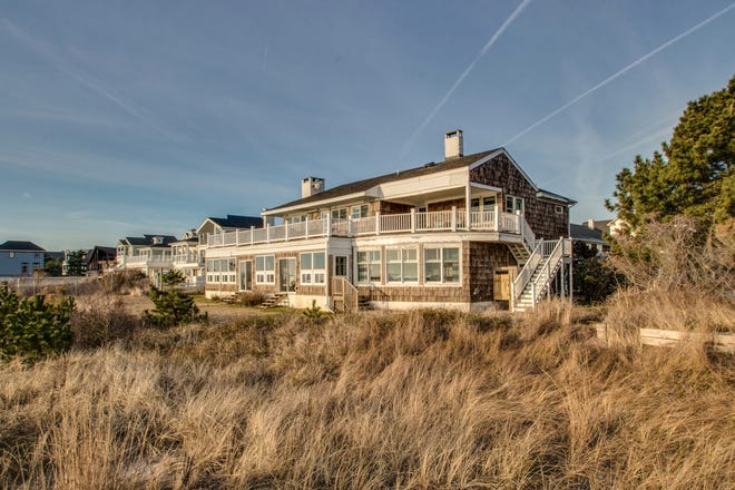 The view from the beach of the ocean-front home for sale on Cullen Street in Rehoboth Beach.