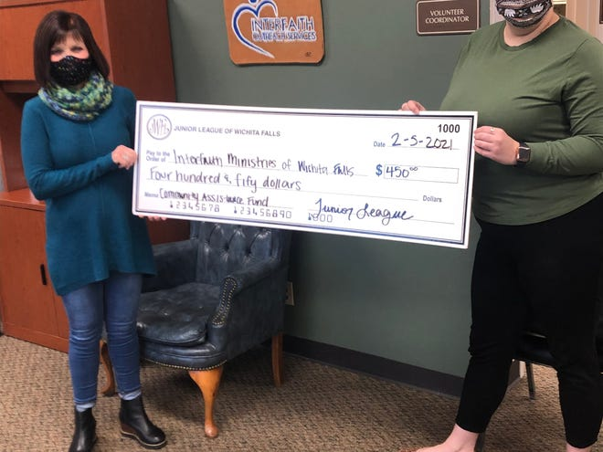 Lindsay Brown, right, a member of Junior League of Wichita Falls, met with Kris Gossom of Interfaith Ministries Friday, Feb. 5, and delivered a check from the Community Assistance Fund.