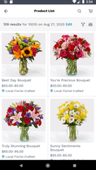 Simplification and selection are the name of the game with the ProFlowers app and site. Low process and quick delivery are also hallmarks of this site.