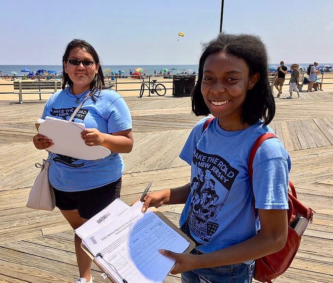 Teen worker Fiona Joseph (right) organizes with the group Make the Road New Jersey, which organizes for workers' rights.