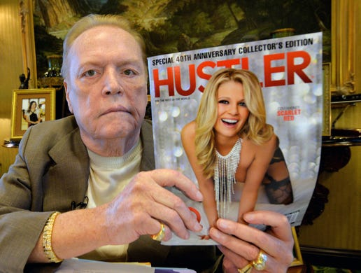 Larry Flynt, &lsquo;King of Smut&rsquo; and unlikely free-speech champion, died Feb. 10 at his home in Los Angeles at age 78. Flynt's brother Jimmy Flynt confirmed the death to the USA TODAY Network.<br /> <br /> Crude, rude and outspoken, Flynt made his fortune in the early 1970s after he turned a racy newsletter for his Ohio strip clubs into Hustler magazine.<br /> <br /> His sexually explicit magazine trampled over boundaries set by competitors, such as Playboy, and set the stage for court battles over obscenity that redefined the meaning of &quot;community standards&quot; and made Flynt a self-styled champion of free speech.