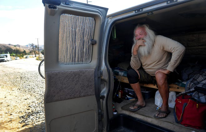 Clell Tamer, who's been homeless for 15 years, lives in his van on the side of Ventura Avenue in an unincorporated area of Ventura County on Wednesday, Nov. 18, 2020.