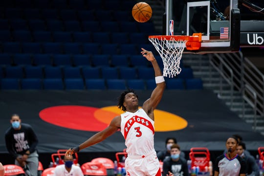 Toronto Raptors forward OG Anunoby (3) during a game against the Charlotte Hornets at Amalie Arena in Tampa, Florida.