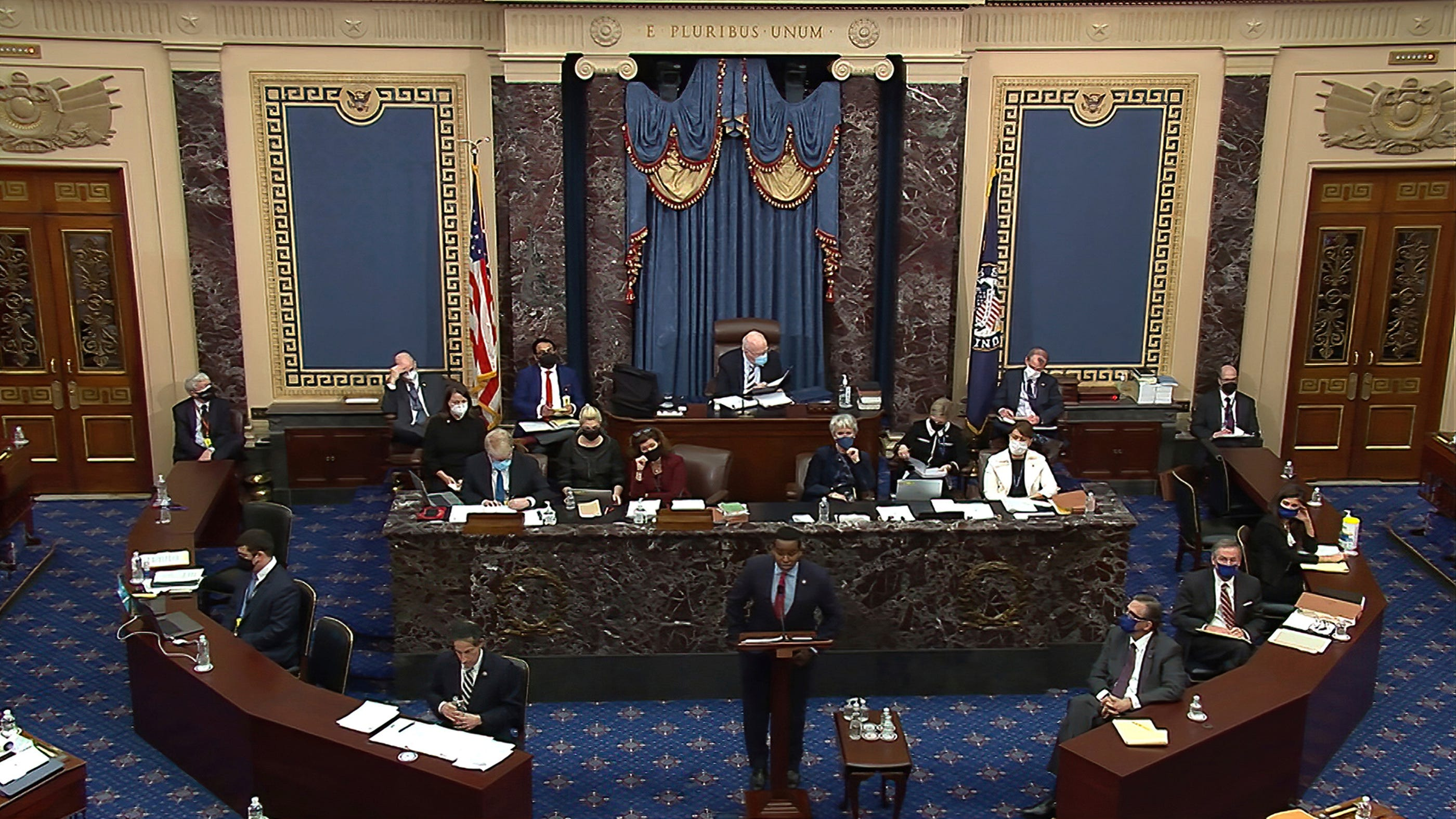 The second impeachment trial of former President Donald Trump on Feb. 11, 2021.