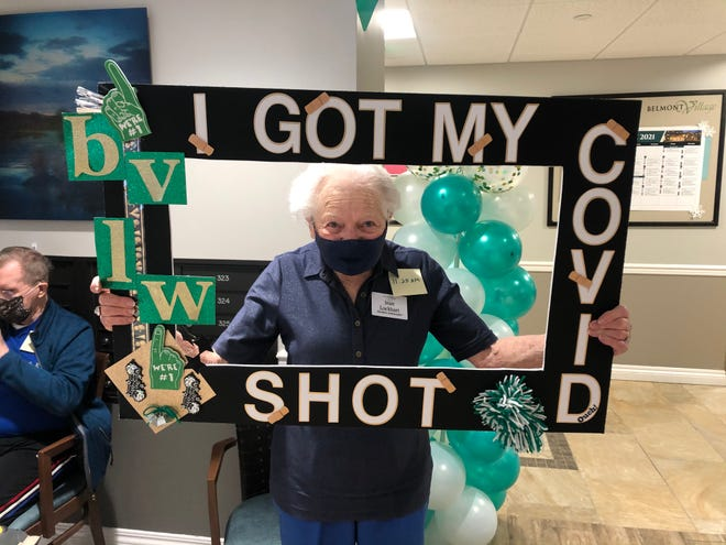 Jean Lockhart, a 101-year-old resident of Belmont Village Senior Living Lakeway near Austin, Texas, received her second dose of the Pfizer COVID-19 vaccine Jan. 20.