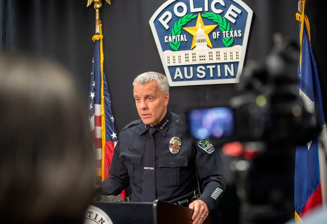 Austin Police Chief Brian Manley answer questions during a press briefing  on Monday, Jan. 6, 2020 on the fatal stabbing on South Congress last week.