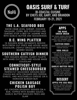 The menu for Oasis Surf & Turf that will be featured this weekend at the NoHi Pop-Up in Akron's North Hill.