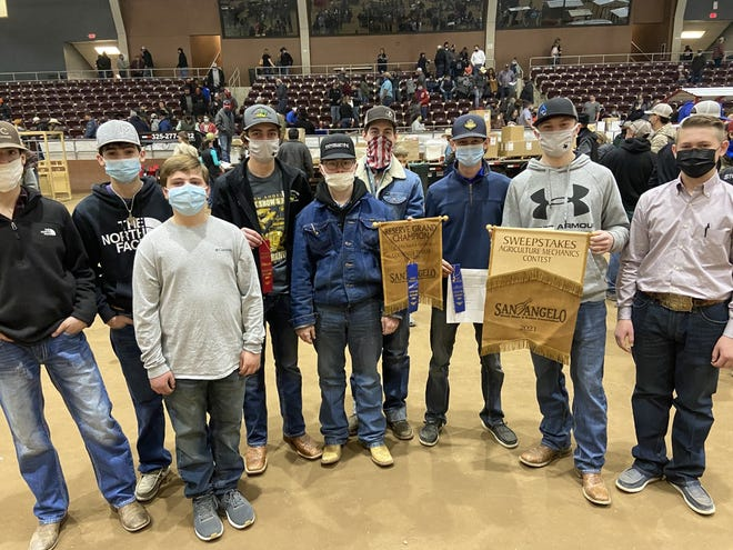 Nine Canyon High School manufacturing students received blue ribbons for their projects, leading to the sweepstakes award at the San Angelo agriculture mechanics show.
