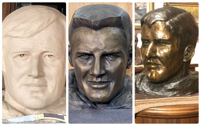 These three busts of former quarterbacks who led the Longhorns to national championships will eventually be on display at Royal-Memorial Stadium, along with a likeness of Vince Young that is at a foundry in Montana. From left are busts of Eddie Phillips, Duke Carlisle and James Street.
