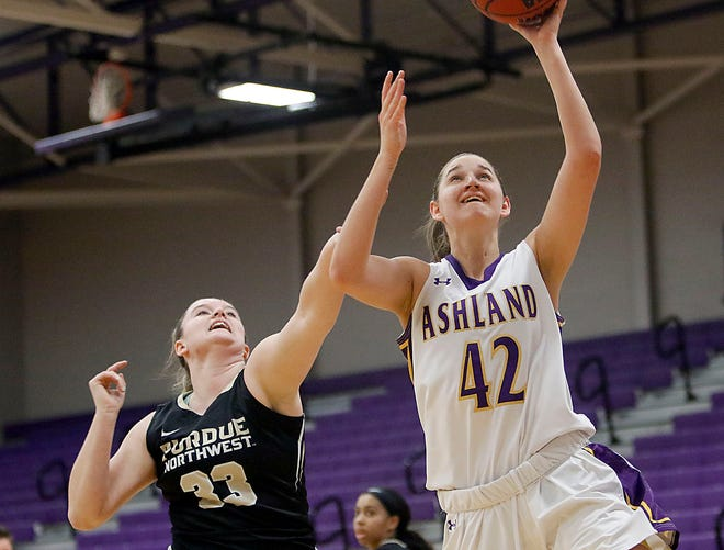 Ashland's Annie Roshak (42) goes up for two of her game-high 26 points in AU's 80-49 win over Purdue Northwest Friday at Kates Gymnasium.