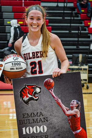 Gilbert's Emma Bulman reached 1,000 points for her career after scoring 16 to help the No. 10 (4A) Tigers top Carroll, 56-50, Tuesday at Gilbert.