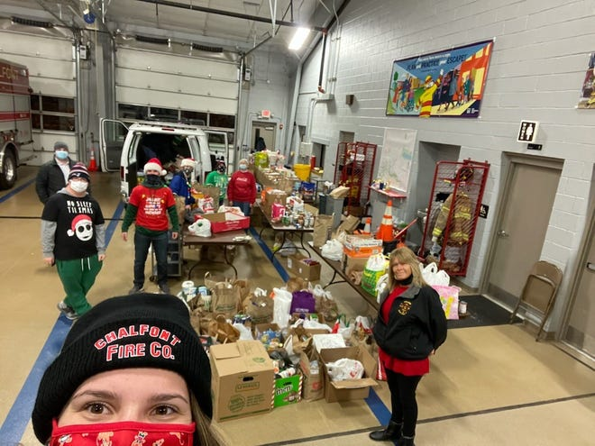 The amount of donations collected by the Chalfont Fire Co. required the team to pack a 20-foot car trailer to transport the load, stacked two-layers high in some spots.