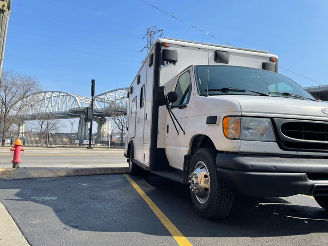 The ambulance that Danielle Gross of Ambridge and Gunnar Michels drove across the country to get married.