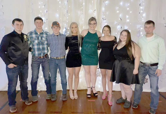 Bunceton Senior Class of 2021 posed at their last Homecoming dance on February 6th. Pictured are Hunter Shuffield, Dillon Alpers, Trevor Anderson, Madelynn Myers, Maddie Brandes, Alyssa Welch, Haylee Rose, and Jason Burnett.