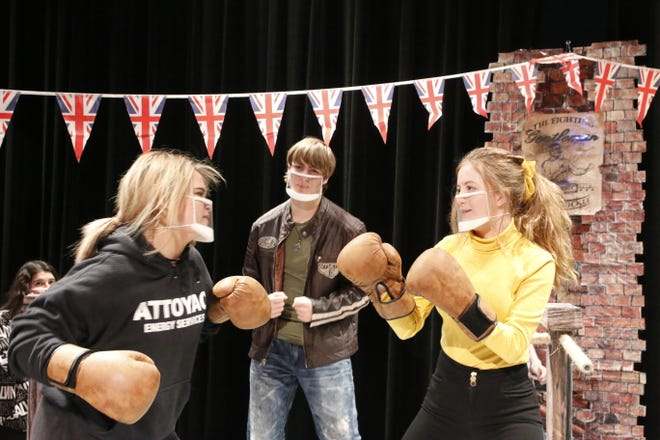 "Cast members Sara Jones (left), Caleb Freeland and Marina Nichols are pictured in a fight scene during a rehearsal of the Bangs Theatre Department's One-Act play ""Sweet Science of Bruising."""