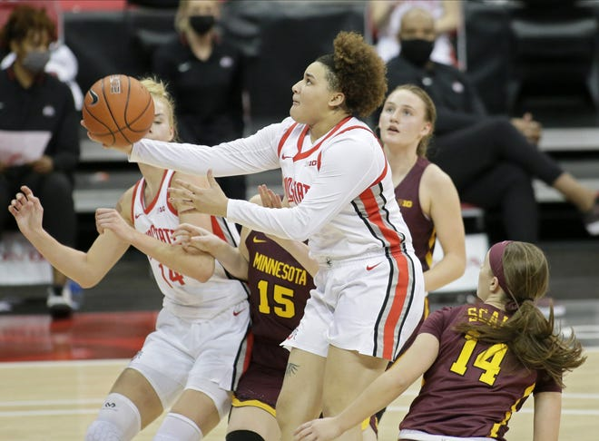 Ohio State guard Kateri Poole goes up for a shot last week against Minnesota in Value City Arena, where the Buckeyes average nearly 15 points per game more than they do on the road in the Big Ten.