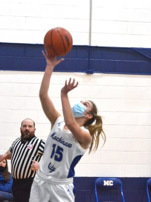 Sophomore guard Marlie Postula and the Mackinaw City Lady Comets rolled to a 57-20 victory at Ellsworth on Thursday.