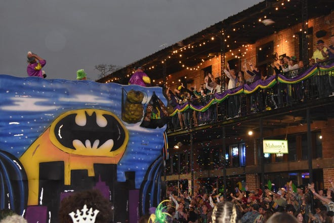A float in the 2020 Krewe of Houmas parade passes in downtown Houma on Feb. 25, 2020.