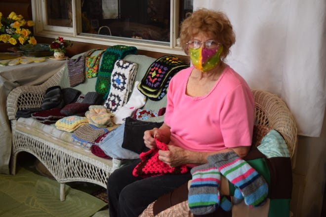 Pearl Foreman of Millersburg displays some of the crafting projects she's been working on during the pandemic. Foreman learned to quilt nearly 70 years ago and has made hundreds of items for friends and family.