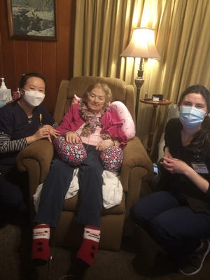 92-year-old Ruth Everhart of Lexington was one of the first people to receive the COVID-19 vaccine at home by Wake Forest Baptist Health.