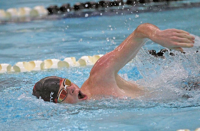 Coldwater's Drake Thornton, shown here in early season action, took a second place finish in the 100 meter Backstroke versus Kalamazoo Central.