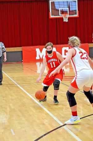 Tekonsha's Alisha Shedd brings the ball up the court in early season action versus Colon.
