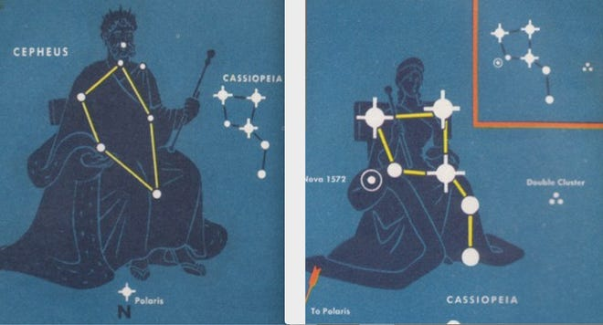 Cepheus and Cassiopeia, the royal couple of the constellations, may be seen any clear night in the northern sky (from the Northern Hemisphere).