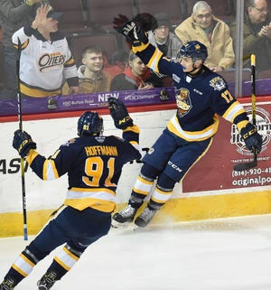 Erie Otters Daniel D'Amato, right, and Brendan Hoffmann celebrate D'Amato's goal against the Flint Firebirds on Feb. 7, 2020 at Erie Insurance Arena. The Otters officially saw their hopes for a season end Tuesday when the OHL canceled its 2020-21 season.