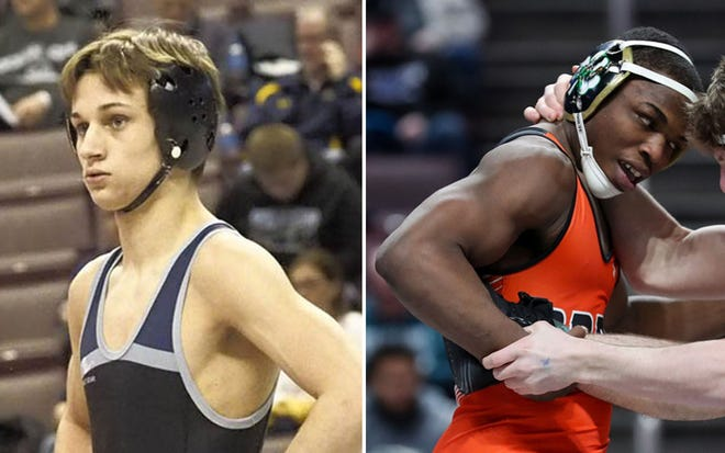 Reynolds senior Gary Steen, left, and Cathedral Prep senior Paniro Johnson, right, are two of the premier wrestlers in District 10.