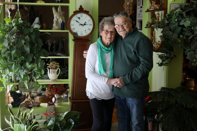 Gene and Gladys Oberman are shown Thursday in their Burlington home. The couple will celebrate their 65th wedding anniversary Feb. 24.