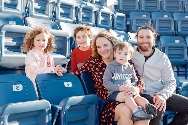 Former Major League Baseball infielder Daniel Murphy (right) is pictured with wife Tori, daughter Quinn (5) and sons Noah (6) and Drew (3). Murphy, who played at Englewood High School and Jacksonville University, retired at the end of January after an MLB career from 2008 to 2020. [Provided to the Times-Union]