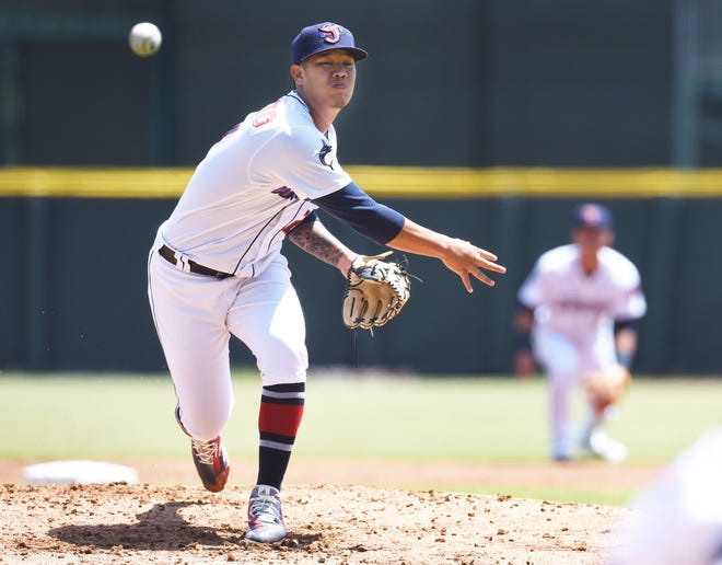 Jumbo Shrimp pitcher Jordan Yamamoto throws during a 2019 game. The Jumbo Shrimp officially accepted their invitation to move up to Triple-A baseball.