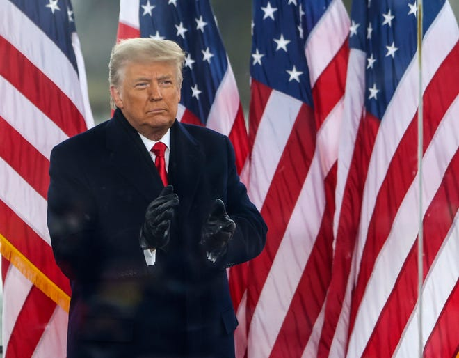 """President Donald Trump greets the crowd at a """"Stop The Steal""""  Rally on Jan. 6, 2021, in Washington, D.C."""