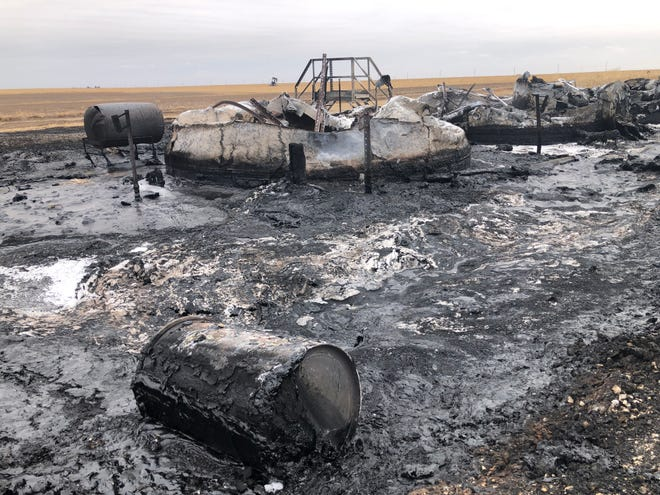 An oil field tank battery burned to the ground Thursday evening south of Hays on Grants Villa Road, a quarter mile west off US-183 highway.
