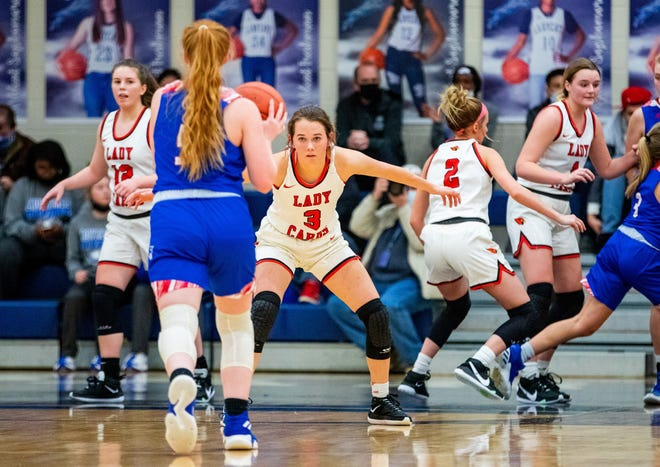 Pottsboro's Autumn Graley, who led the Lady Cardinals with 15 points, was also part of a stout defensive effort in a bi-district win over Prairiland at Paris.