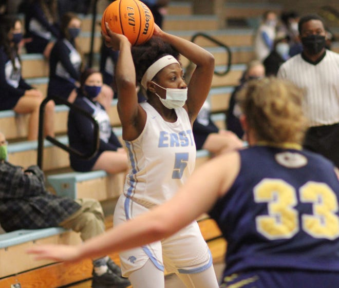 East Duplin's Imari Judge looks to pass the ball during a game against Goldsboro earlier this season. [Chris Miller / The Daily News]