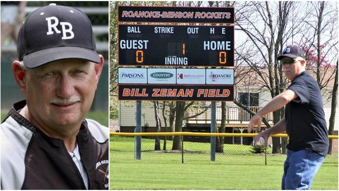 Longtime Roanoke-Benson baseball coach Bill Zeman died recently. He was 67. Zeman coached the Rockets for nearly four decades, leading R-B to an undefeated state title in 1995.
