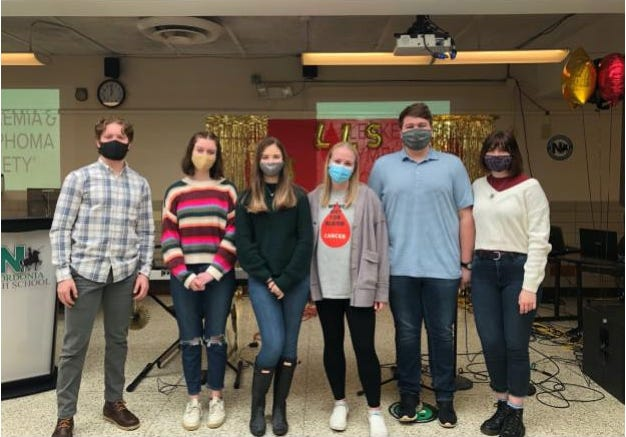 Nordonia High School Leukemia and Lymphoma Society's Students of the Year Team members Louis Hover, Caroline Orzechowski, Emma Chase, Ally Siewert, Jake Tomkovicz and Emma Sarkissian were setting up for Coffee and Melodies earlier this month.