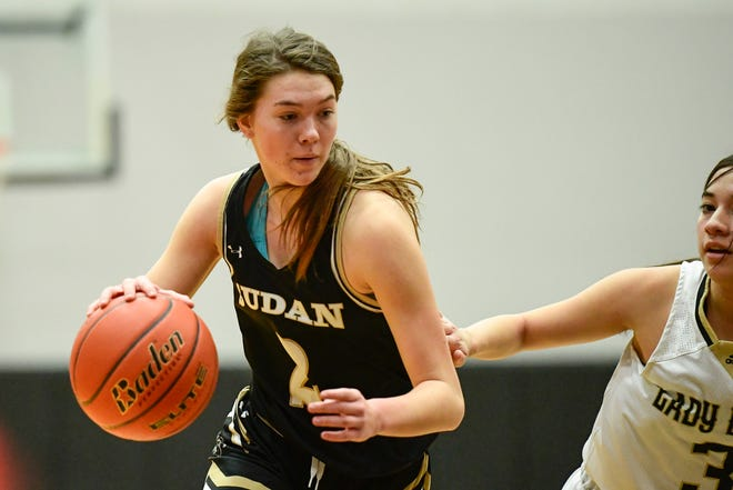 Sudan's Stevi Lockhart (2) controls the ball against Post during the Class 2A bidistrict championship game Feb. 11 at Lubbock-Cooper High School in Woodrow.