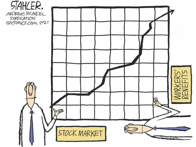 Jeff Stahler cartoon on the unbalanced recovery