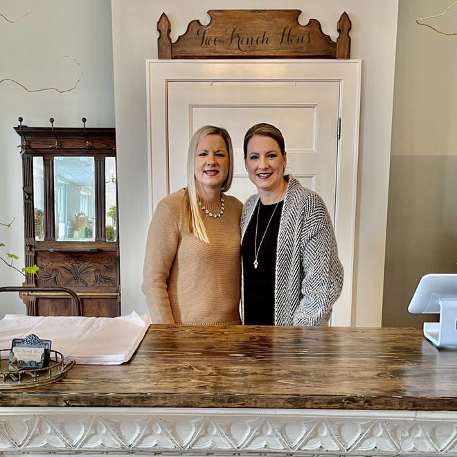 Heather Johnson and Holly Yaegar recently opened Two French Hens, a home decor and furniture store, in downtown Monroe. [MONROE NEWS PHOTOS BY TYLER EAGLE]