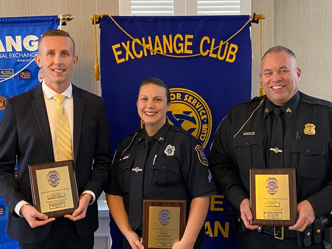 (From left to right) Detective Michael Swiercz of the Monroe County Sheriff's Office, Cpl. Renae Peterson of the Monroe City Police Department, and Sgt. Randy Sehl of the Village of Dundee Police Department, along with Detective/Trooper Jordan Long (not pictured) of the Michigan State Police - Monroe Post were recognized Thursday as the 2020 Monroe County Police Officers of the Year.