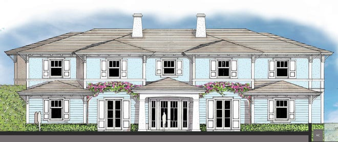 A rendering shows the house designed for an oceanfront lot at 905 N. Ocean Blvd., just north of the Palm Beach Country Club.  The house, which has recently been completed by owners Pat and Lillian Carney, is said to be under contract for more than $70 million, furnished, in an off-market sale.