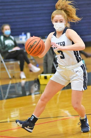 Senior Sydney Taylor scored a team-high 14 points in Exeter's 67-59 win over Portsmouth on Thursday in a Division I contest.