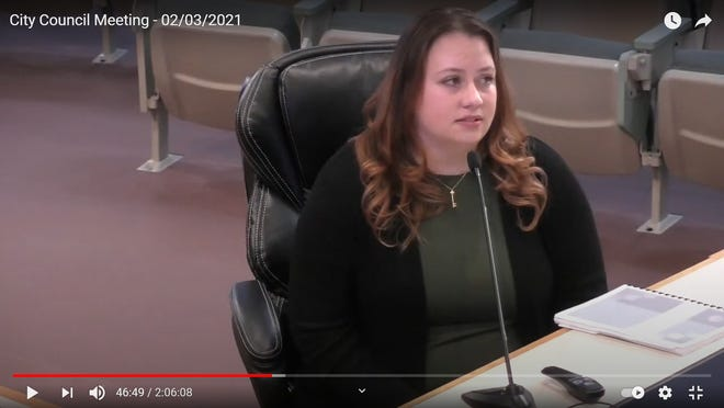 Finance Director Cheri Freese reports on city finances at the Ridgecrest City Council meeting Feb. 3, 2021.