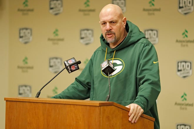 In this Feb. 18, 2019, file photo, Green Bay Packers' defensive coordinator Mike Pettine addresses the media during a news conference in Green Bay, Wis. Pettine, who did not have his contract renewed by the Packers, has been hired by the Chicago Bears as a senior defensive assistant.