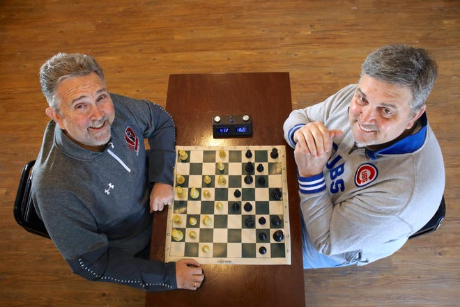 Auburn High School Chess Coach Joe Guth Jr., left, and his brother John Guth, executive director of the Ken-Rock Community Center, are restarting a chess club at the center to capitalize on a mini-resurgence of the game's popularity. They're pictured Thursday, Feb. 11, 2021, at the community center in Rockford.